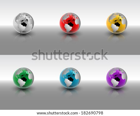 An abstract raster illustration set of crystal globes. - stock photo