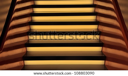 An abstract rendering of a lighted staircase in yellow and brown