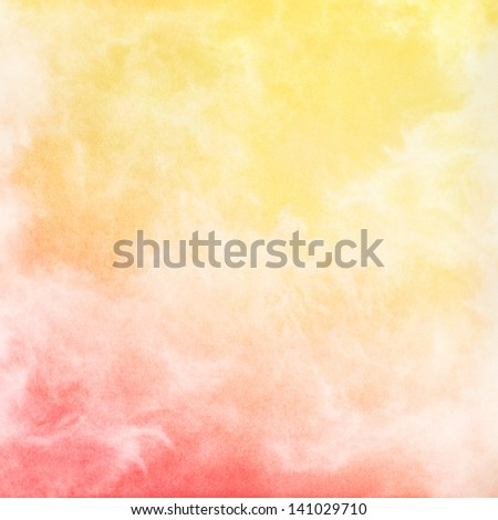 An abstract rendition of fog, mist, and clouds with a red to yellow gradient.  Image has a pleasing grain texture when viewed at 100 percent. - stock photo