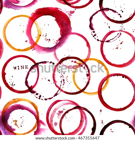 An abstract seamless pattern, made up by stains from glasses of white and red wine
