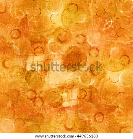 An abstract seamless watercolor background pattern with golden and bronze dots; a festive texture with copyspace; a frame with painterly brush strokes - stock photo
