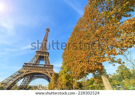 An abstract view of a park and Eiffel Tower, Paris, France