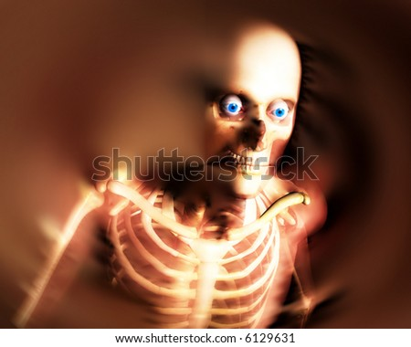 An abstract x-ray image of a person in which you can see the skeleton. A suitable medical or Halloween based image. - stock photo