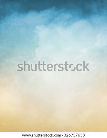 An abstraction of fog and clouds on a textured background with a pastel color gradient.  Image displays a distinct grain and texture at 100 percent. - stock photo