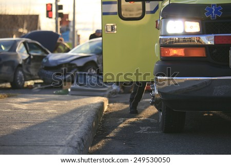 An accident scene on the road of a country - stock photo