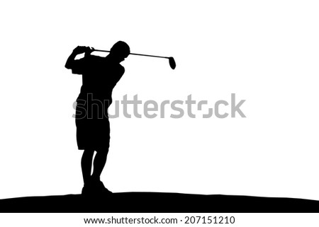 an action golfer in silhouette - stock photo