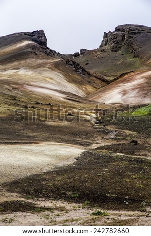 An active geothermal area near Myvatn, Iceland - stock photo