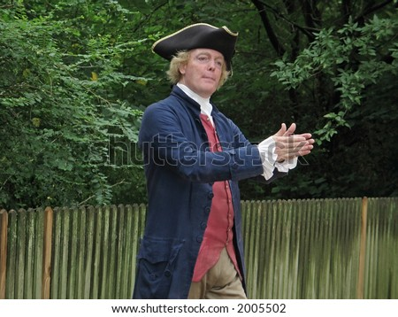 An actor playing Thomas Jefferson at Colonial Williamsburg in Virginia. - stock photo