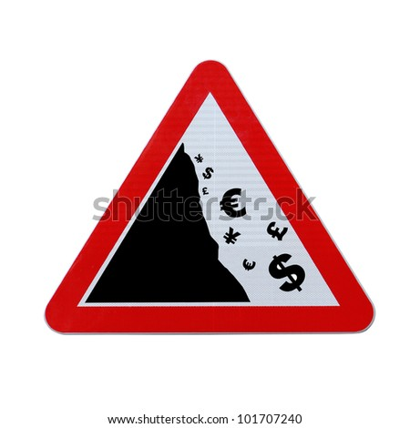 An actual road sign modified to imply the fall or devaluation of major world currencies. Applicable for business or financial concepts. (Isolated on white with clipping path.) - stock photo