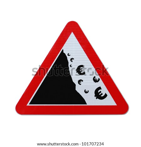 An actual road sign modified to imply the fall or devaluation of the euro currency. Applicable for business or financial concepts. (Isolated on white with clipping path.) - stock photo
