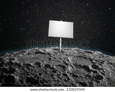 An adboard placed on the  surface of a planetoid - stock photo