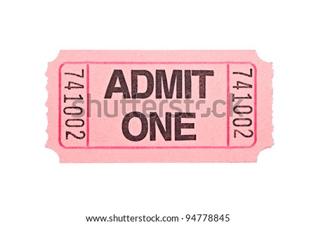 An admittance ticket isolated on a white background