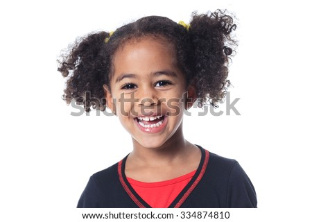 An Adorable african little girl with beautiful hairstyle isolated over white - stock photo