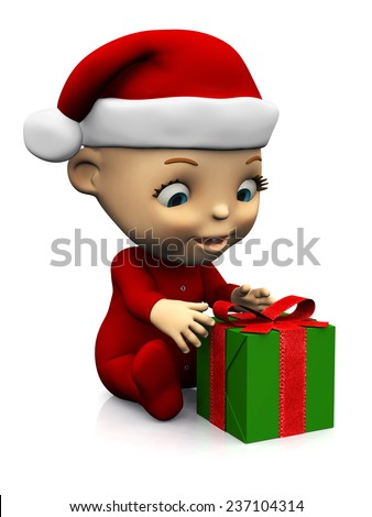 An adorable cute cartoon baby wearing a Santa hat and sitting on the floor with a Christmas present in front of it. White background.