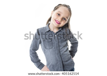 An Adorable girl with smile over white background - stock photo