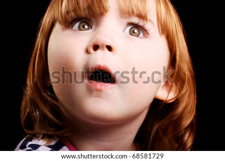 An adorable little girl who is shocked beyond belief! - stock photo