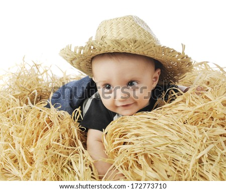 An adorable 3-month old baby farmer happily belly-down in the hay and wearing a straw hat.  On a white background. - stock photo
