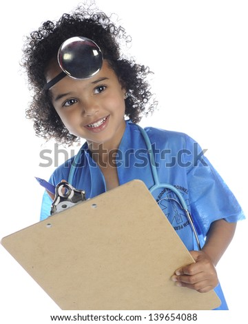 "An adorable preschool ""doctor"" looking up from her clipboard.  On a white background. - stock photo"