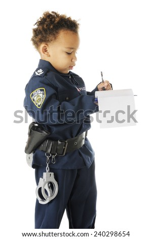 "An adorable preschool ""traffic cop"" in uniform writing a ticket.  On a white background."