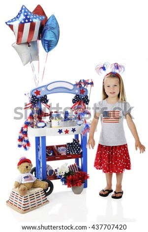 An adorable preschooler standing by her Fourth of July vendor stand.  The stand's signs are left blank for your text.  On a white background. - stock photo