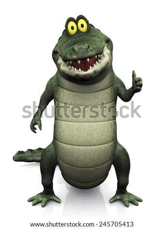 An adorable smiling friendly cartoon crocodile doing a thumbs up with his hand. White background.