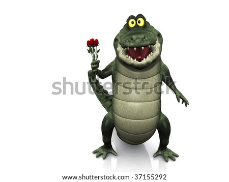 An adorable smiling friendly cartoon crocodile holding a few red roses in his hand. White background. - stock photo