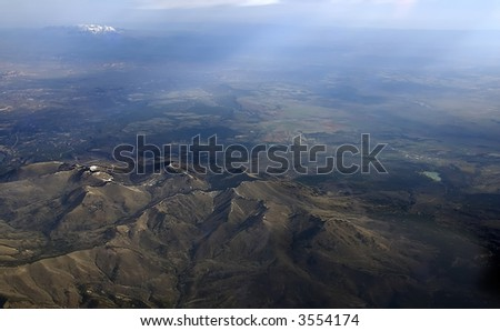 An Aerial image of a beautiful mountain range in the Sierra Nevadas