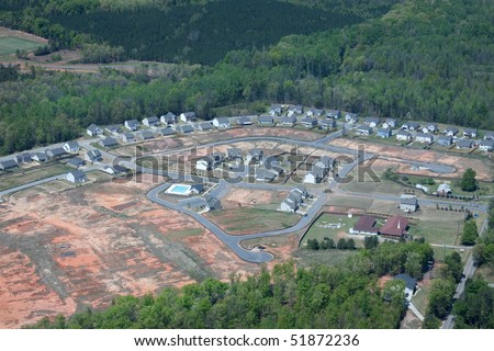An aerial view of a new housing development.