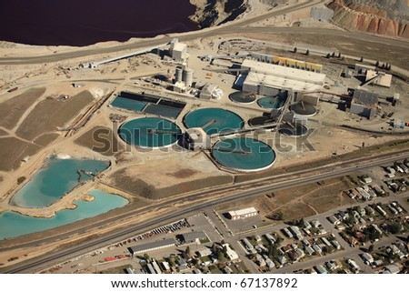 An aerial view of a water treatment facility at an industrial plant. - stock photo