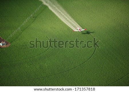 An aerial view of an agricultural crop duster flying low over a potato field, spraying chemicals. - stock photo