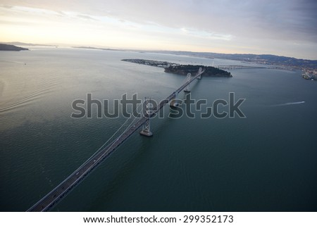 an aerial view of bay bridge in san francisco