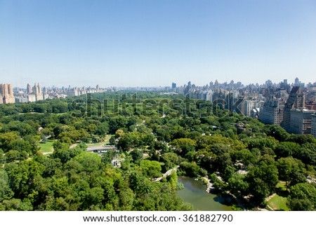 An aerial view of Central Park in New York City from Central Park South - stock photo