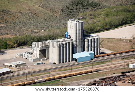 An aerial view of grain elevators - stock photo