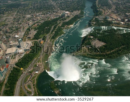 An aerial view of Niagara Falls. - stock photo