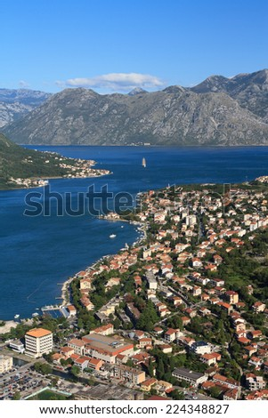 An aerial view of the city and the bay of Kotor. Montenegro