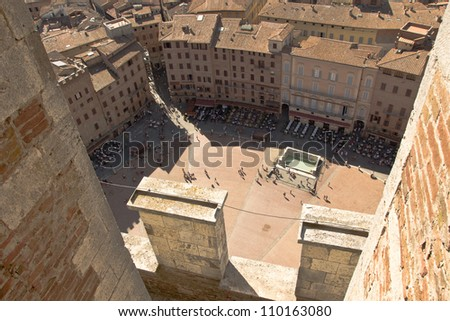 An aerial view of the historic city of Siena in Tuscany, Italy. - stock photo