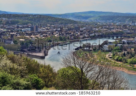 An aerial view of the Historical German Corner in Koblenz Germany where the River Rhein meets the River Mosel - stock photo