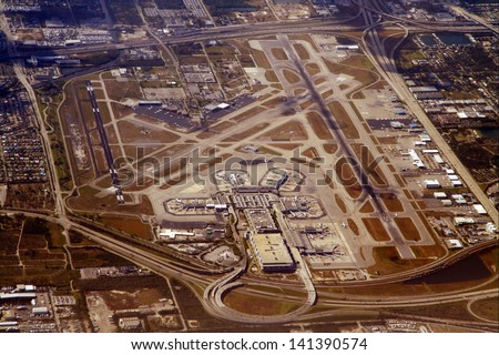 An aerial view of the Miami International Airport. - stock photo
