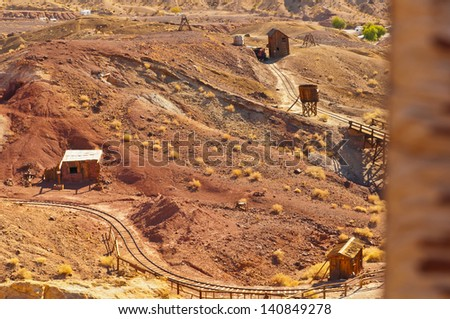 An aerial view of the mine that shows a railroad