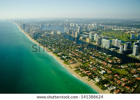 An aerial view of the seashore in Miami. - stock photo