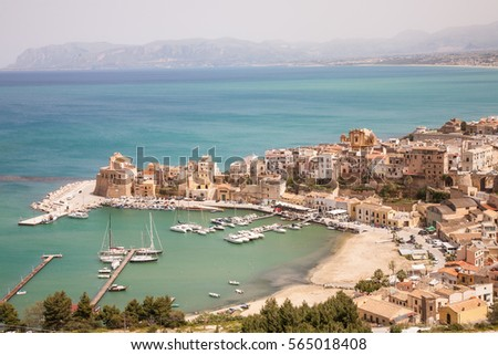 An aerial view on the harbor of the town of Castellammare del Golfo in the Trapani province of Sicily, Italy