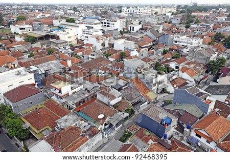 An aeriel view of the densely populated and congested Bandung city in Java Island, Indonesia.
