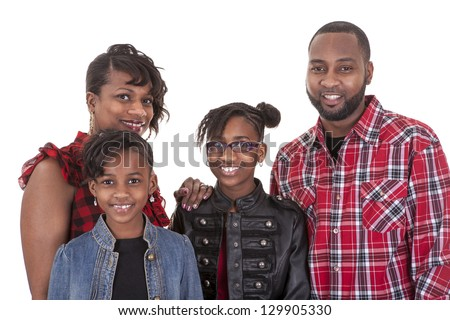 An African American family of four on white background