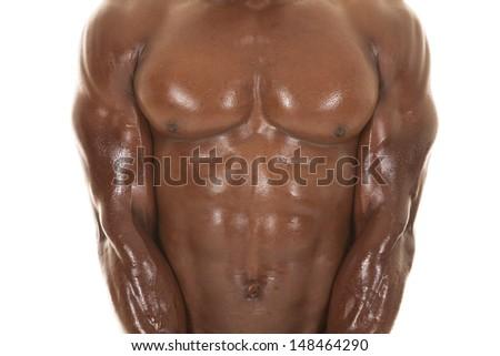 An African American man shirtless up close. - stock photo