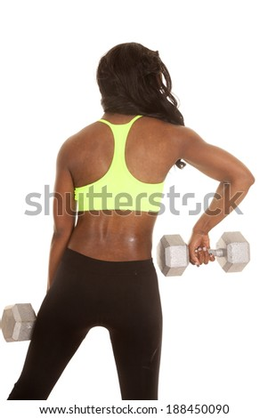 an African American woman working out with weights showing off her back.