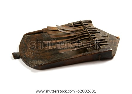 An African musical instrument isolated on a white background - stock photo