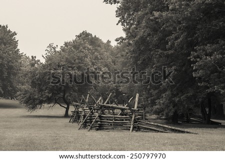 An age toned black and white photograph of Monmouth Battlefield State Park in New Jersey. - stock photo