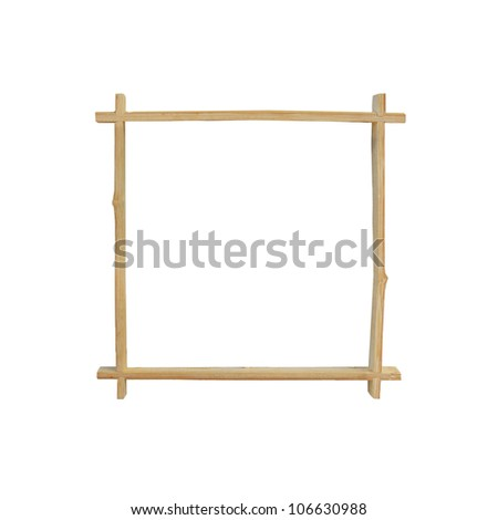 An aged bamboo frame isolated on a white background - stock photo