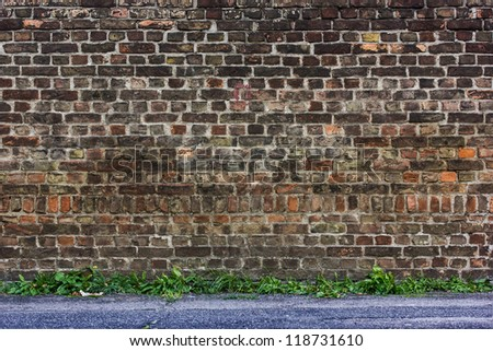 An aged brick wall