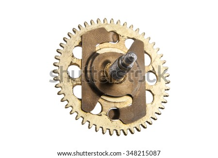 An aged gear from a clock isolated on white background